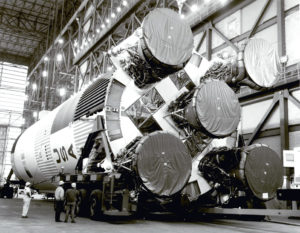 The S-1C booster for the Apollo 11 Saturn V (NASA)